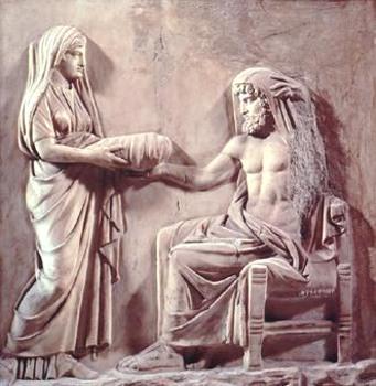 Rea offre a Crono una pietra avvolta in un panno facendogli credere che sia il piccolo Zeus