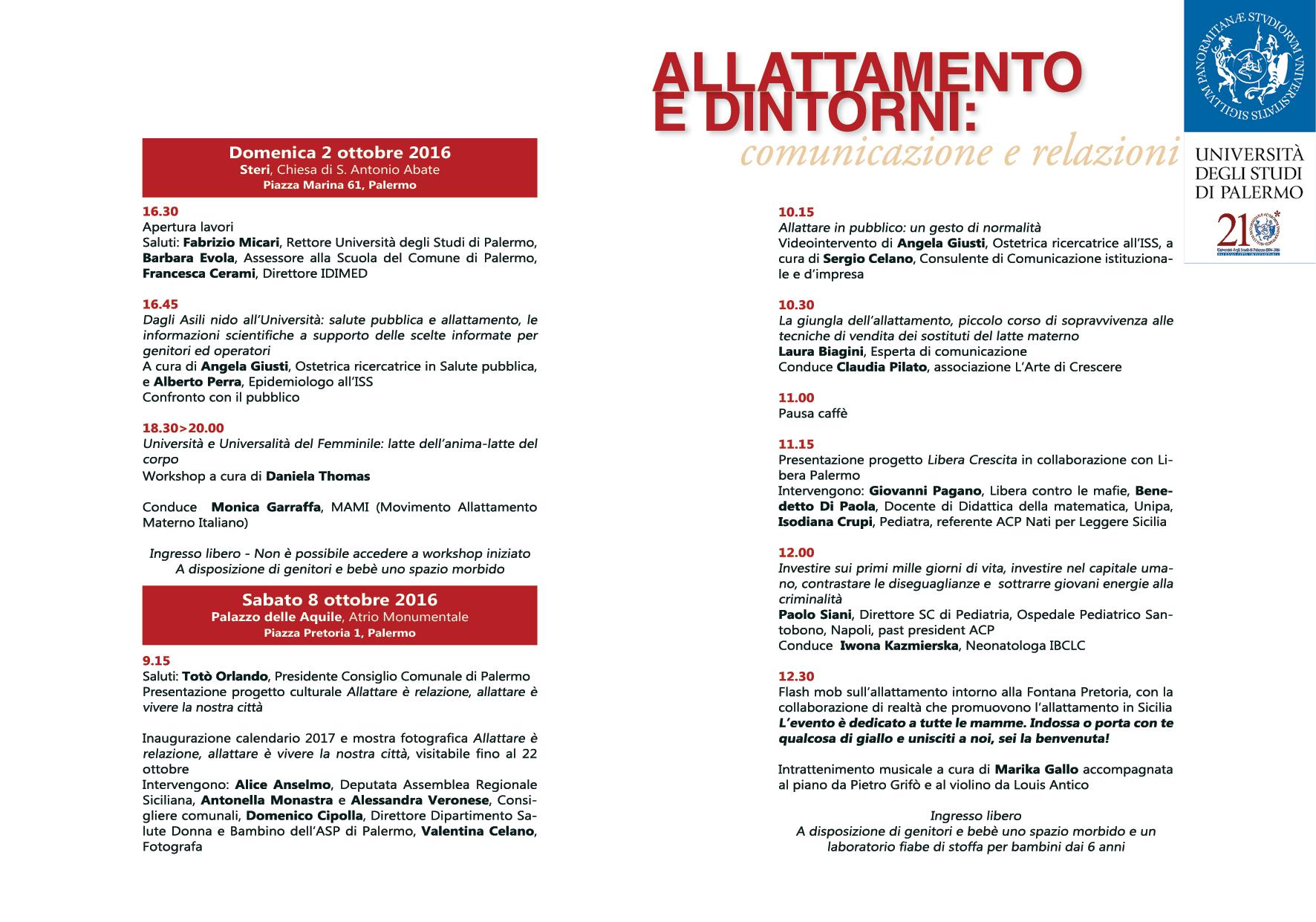 """8 Ottobre Palazzo delle Aquile """"Allattamento e dintorni: comunicazione e relazioni"""